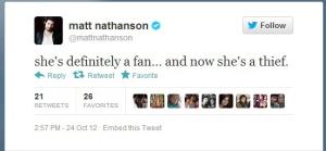Matt Nathanson Tweet